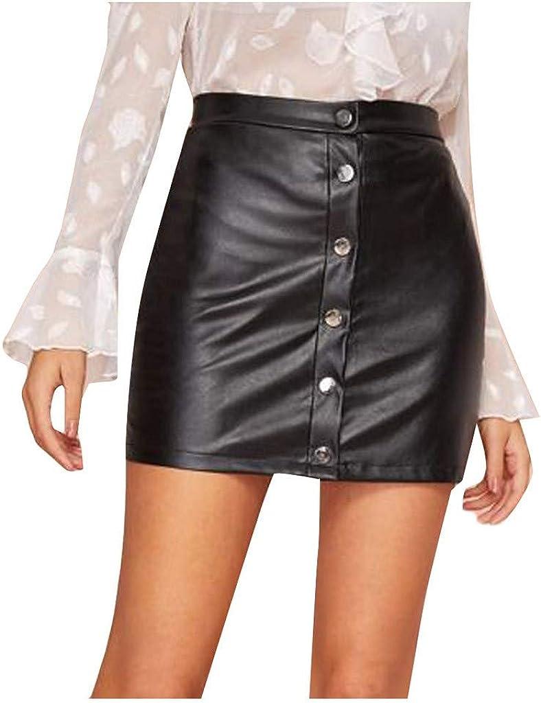 Sylar Mini Falda de Cuero Color sólido Mujer Falda lápiz Cintura Alta elástico Faldas de Cuero básica Slim fit a-Line Mini Falda Negra Faldas de Cuero Mujer Cortas con Botones