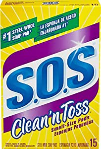 S.O.S. Clean 'n Toss Steel Wool Soap Pads, 15 Count