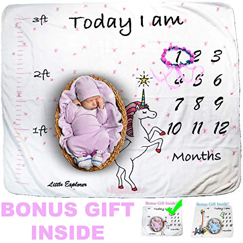 Cozy Baby Milestone Blanket with Height Tracker Weekly Monthly Photo Props Shoots Backdrop for Newborn Boy Girl (Flower Wreath Included),New Mom Baby Shower Gifts ()
