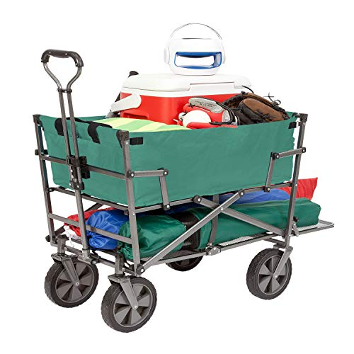 Mac Sports Heavy Duty Steel Double Decker Collapsible Yard Cart Wagon, ()