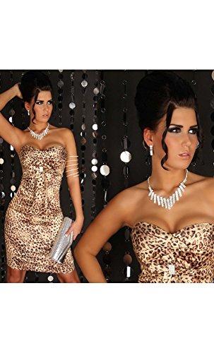 Mela Proibita - robe femme cérémonie Léopard genou elegante soirée vêtements robe - Léopard, 08