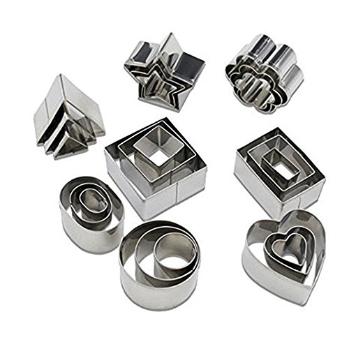 Geometric Shapes Cookie Cutters, Mini Cutters Including Hexagon, Square, Circle, Oval, Octagon, Diamond Molds for Pastry, Fondant, Donuts, Clay –Stainless Steel, 24 Pc Set