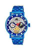 Adee Kaye Men's Stainless Steel Automatic Watch, Color:Blue (Model: AK2266-50_IPBU)