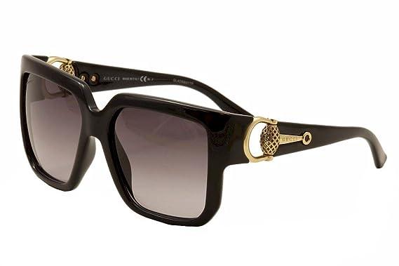 gucci sunglasses 3713 frame black shiny lens gray gradient