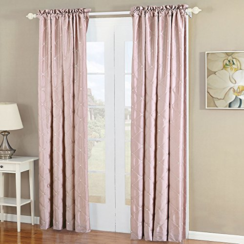 - Home Soft Things Serenta Doris Diamond Embroidery Light Reducing Faux Silk Curtain, 2 Piece Window Panels, 60