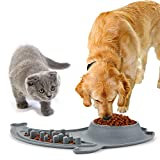 Ruipower Stainless Steel Dog Bowls, Large Dog Food Bowls Slow Feeder with No Spill and Non-Skid Silicone Mat, Pet Bowl Maze Feeder Double Dog Food Water Bowl for Dogs Cats