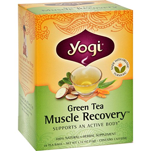 Yogi Muscle Recovery Herbal Tea Green Tea - 16 Tea Bags - Case of 6 (Recovery Muscle Green Tea)