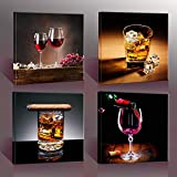 Home Decor Canvas Wall Art -4 Panels Canvas Prints Wine Pictures ' Wine & Whisky' Framed Wine Wall Art for Home Decorations-P4S3030-003