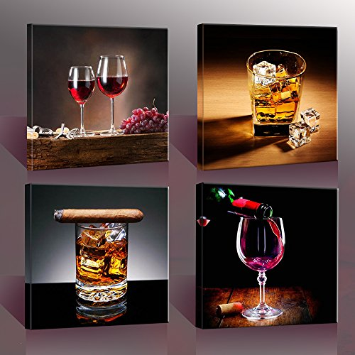 Nuolan Art Home Decor Canvas Wall Art  4 Panels Canvas Prints Wine Pictures  Wine U0026 Whisky Framed Wine Wall Art For Home Decorations P4S3030 003