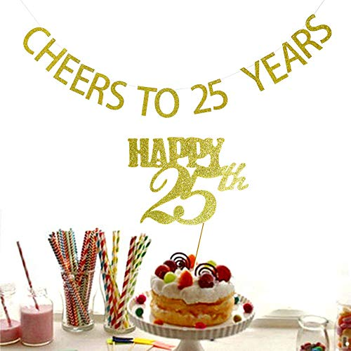 SWEETTALA Cheers to 25 Years Banner and Happy 25th Cake Topper Gold Glitter for 25th Birthday Wedding Anniversary Party Decorations - 6 Hero Big Ribbon