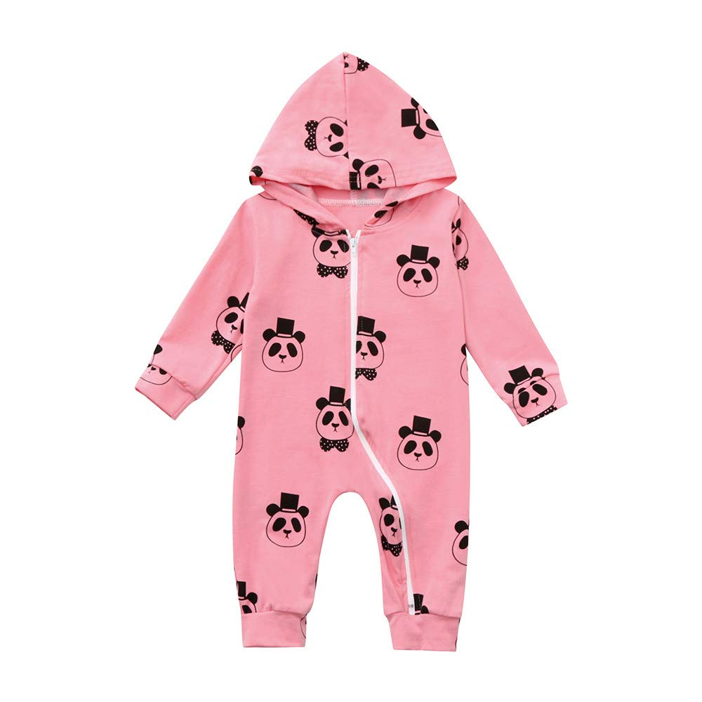 Xshuai ® Fashion Cute Infant Toddler Baby Girl Boy Hooded Romper Jumpsuit Cartoon Panda Zipper Clothes