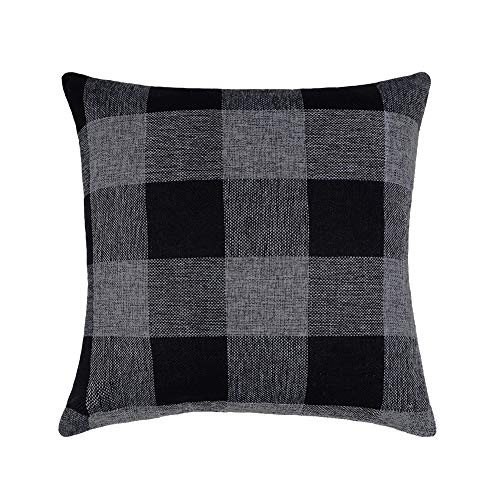 4TH Emotion 24x24 Black Grey Buffalo Check Plaids Throw Pillow Case Cushion Cover Holiday Decor Cotton Linen for (Best Cover For Holidays)