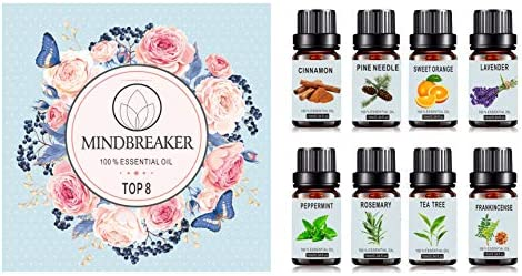 Set de aceites esenciales de aromaterapia orgánica - TOP8 Difusores de aceite, incienso, lavanda, árbol de té, naranja dulce, menta, canela, aguja de ...