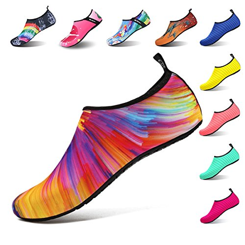 Womens and Mens Water Shoes Barefoot Quick-Dry Aqua Socks for Beach Swim Surf Yoga Exercise (Sunset, S)
