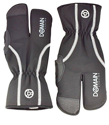 Domain Cycling Lobster Cycling Gloves Winter Cold Weather Mountain Bike Split Finger Windproof Waterproof Men or Women, Black (X-Large)