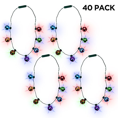 (Party Favor Pack) Jingle Bell Light-up Christmas Necklace Wholesale Bulk (40)