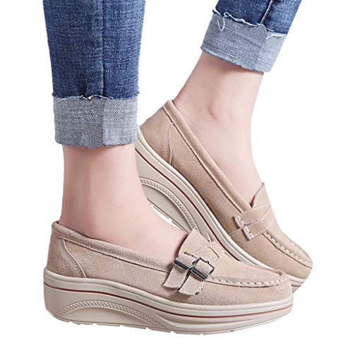 TnaIolral Women Muffin Shoes Summer Leather Thick Bottom Shoes Creepers Moccasins (US:8, Beige)