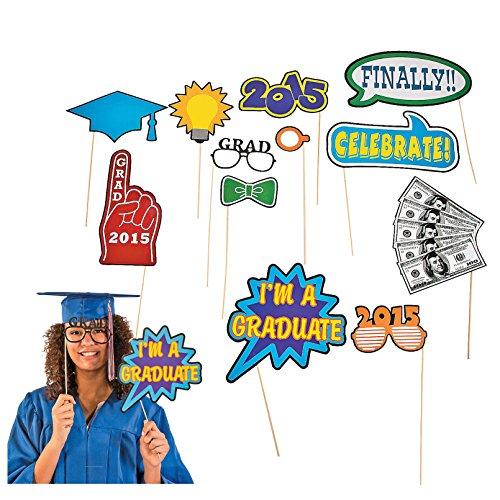 Graduation Class of 2015 Photo Booth Grad Party Stick Props - 12 pcs