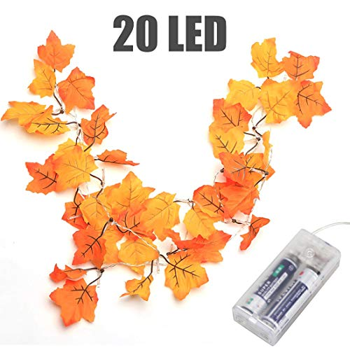 Thanksgiving Decorations Lighted Fall Garland, Thanksgiving Decor Halloween String Lights 8.2 Feet 20 LED, Thanksgiving Gift (To Your Ways Desk Decorate)
