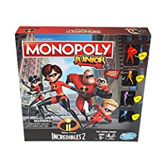 Suit up with the Parr family, because it's showtime! Kids can imagine embarking on a super-adventure and explore the locations inspired by the world of the Disney/Pixar Incredibles 2 with this edition of the Monopoly Junior game. The hero who...