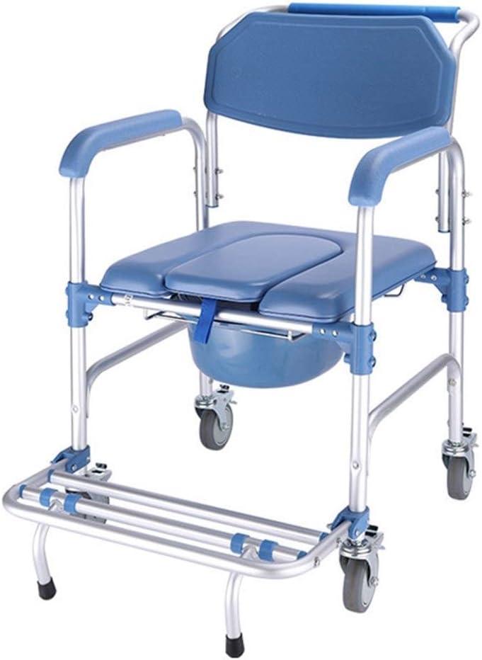 多機能シャワーチェア、ローリングベッドサイド便器椅子は、腕、背中、ペダル、ホイールや高齢者、高齢者に のパッド入りシート、身体障害者、妊婦と厚み付けアルミバスチェアを300lbs