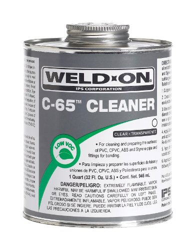 Weld-On 10201 C-65 Clear PVC/CPVC/ABS/Styrene Cleaner, Low-VOC, 1 quart Can with Applicator Cap, Metal Can