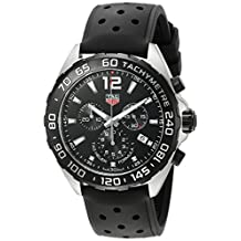 Tag Heuer Formula 1 Chronograph Black Dial Black Leather Mens Watch CAZ1010.FT8024