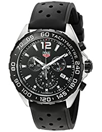 Tag Heuer Formula 1 Chronograph Black Dial Black Leather Mens Watch CAZ1010.FT8024