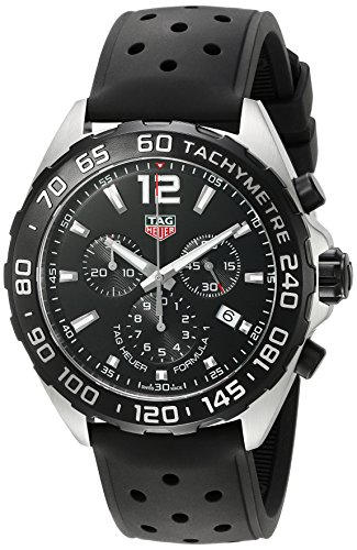 TAG Heuer Men's 'Formula 1' Swiss Quartz Stainless Steel and Rubber Dress Watch, Color:Black (Model: - Tag Strap Rubber Heuer