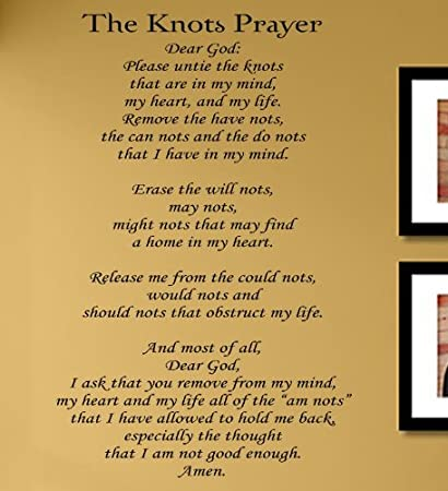 Amazon.com: The Knots Prayer Vinyl Wall Decals Quotes Sayings Words ...
