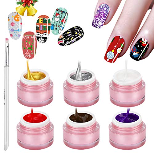 Saviland 6 Colors Gel Paint for Nail Art Kit with Painting Pen Sculpture Gel Nail Polish DIY Design Lacquer Tools 8g