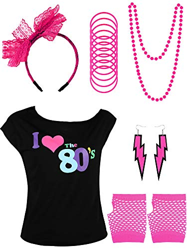 80's Kids Costume Accessories Set, Include T-Shirt, Fishnet Gloves, Bracelets, Necklace, Earrings, Lace Headband for Party Costume Favor (8-10 Years, Color 1)