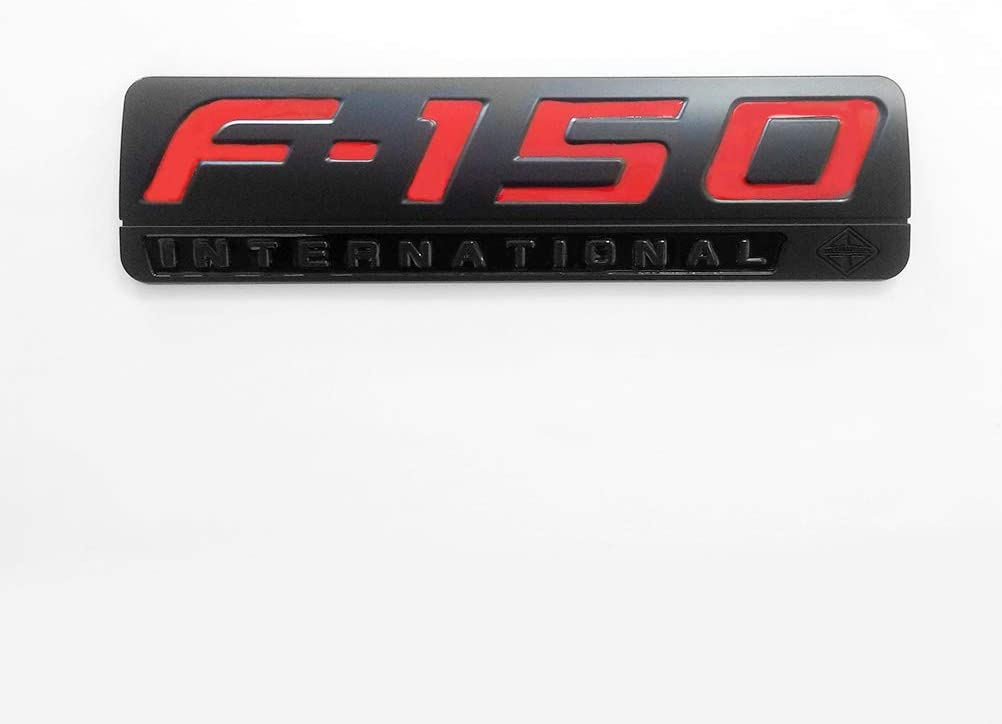 2pcs OEM F-150 International Side Door Fender Emblems Badges Pair New 3D Logo Replacement for F150 Black Red
