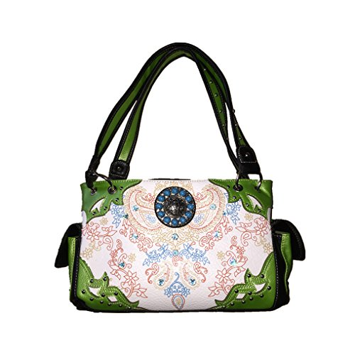 Concho Concealed Rhinestone Colors Handbag Leather Premium 5 Wallet in Shoulder Light Carry and Floral Set Purse Matching Green One tpwqdx1