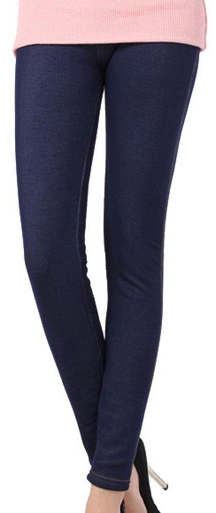 Lovful Women's Winter Warm Denim Legging Fake Jeans Thick Full Length Leggings Fleece Lined Jeggings,Dark Blue by Lovful (Image #3)