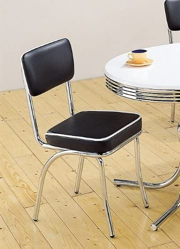 Coaster 2066 Cleveland Chrome Plated Side Chair Black Cushion Set of 4