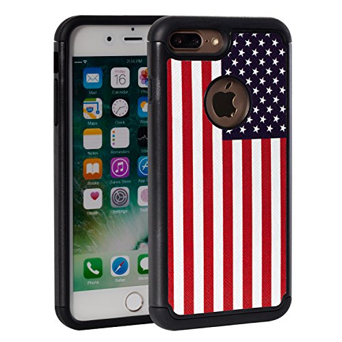 Flag Phone - iPhone 8 Plus Case,iPhone 7 Plus,Rossy USA American Flag Design Heavy Duty Shock-Absorption Silicone Plastic Hybrid Dual Layer Armor Defender Protective Case Cove for Apple iPhone 8 plus/iPhone 7 Plus