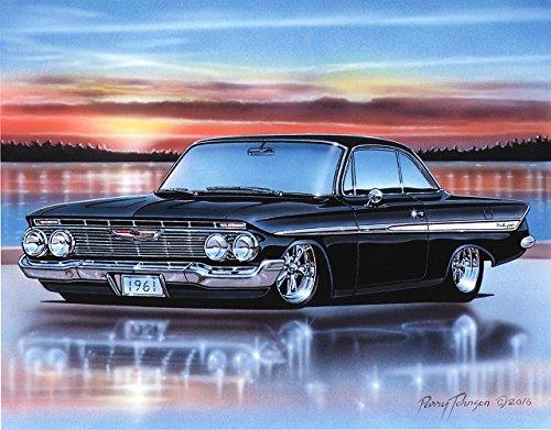 (1961 Chevy Impala 2 Door Hardtop Classic Car Art Print Black 11x14 Poster)