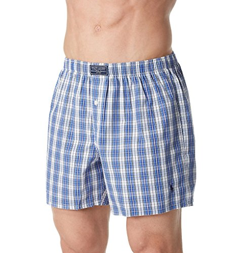 Polo Ralph Lauren Cotton Classic 50's Woven Boxer (L107SR) XL/Plaid/Cruise Navy (Classic Boxer Plaid Mens)