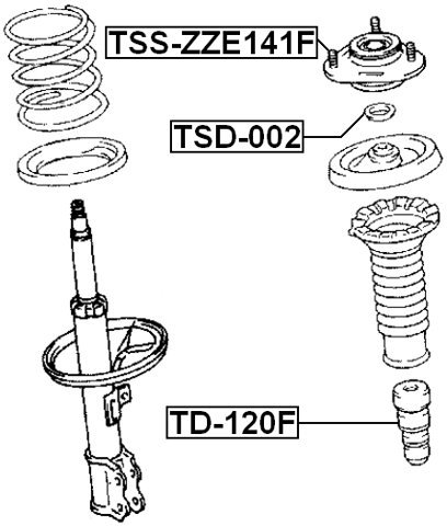 Front Shock Absorber Support Febest Tss-Zze141F Oem 48609-02220