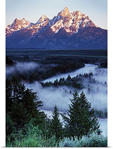 GREATBIGCANVAS Entitled Mist Over Snake River, Sunrise Light, Grand Teton National Park, Wyoming Poster Print, 16