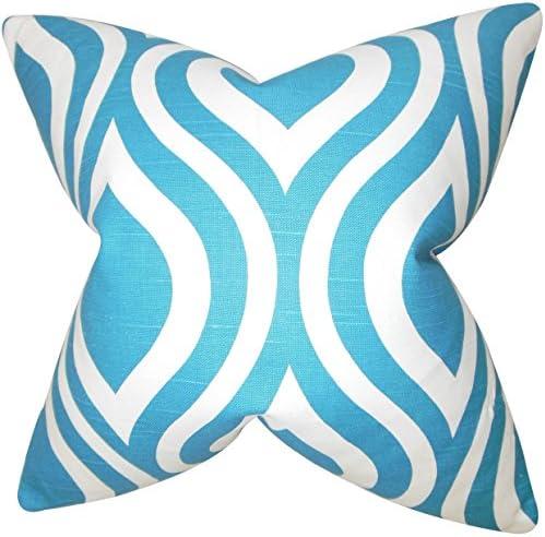 The Pillow Collection Jaslene Geometric Bedding Sham Blue King//20 x 36
