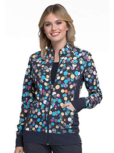 Cherokee Fashion Prints Women's Zip Front Warm-Up Polka Dot Print Scrub Jacket Small - Up Jacket Warm Ck