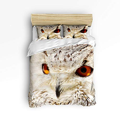 YEHO Art Gallery , Cute 3D Owl Face Aniaml Pattern Cute 3 Piece Duvet Cover Sets for Boys Girls, Cute Decorative Bedding Set Include 1 Comforter Cover with 2 Pillow Cases Queen Size