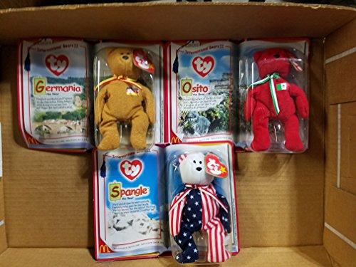 Mcdonalds Teenie Beanie Babies (Mcdonald's Teenie Beanie Babies 2000 International Bears II - Set of 3 - Osito, Germania and Spangle by Ty Beanie Babies)