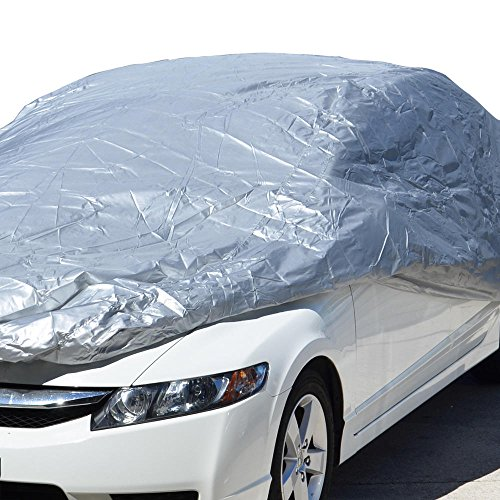 "Motor Trend All Season WeatherWear 1-Poly Layer Snow proof, Water Resistant Car Cover Size XL1 - Fits up to 210"" - CC-544+LOCK , Silver"