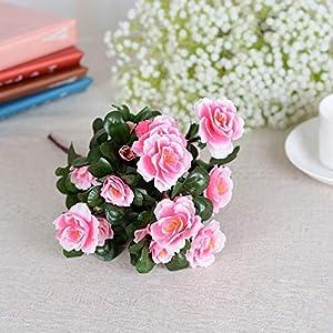 Lhoste Silk Fake Leaf Azalea Artificial Flowers Floral Bouquet for Wedding Party Home Decoration 29