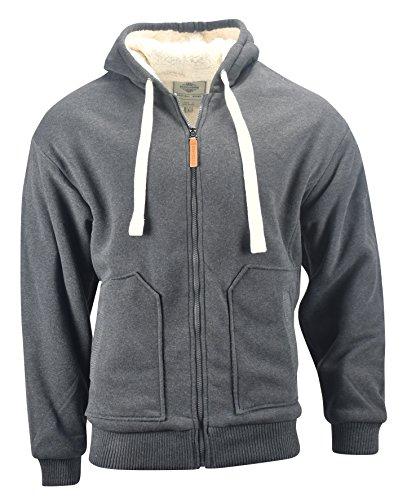 Fleece Mens Hoody Zip (Profound Apparel Men's Heavyweight Sherpa Lined Full Zip Fleece Hoodie (Charcoal, X-Large))
