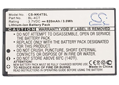 Cameron Sino 820mAh Li-ion High-Capacity Replacement Batteries for Nokia 5310, 6600 Fold, 7210 Supernova, 7310 Supernova, X3, 6600f, fits Nokia BL-4CT ()