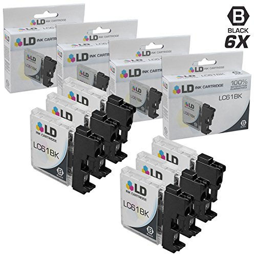 (LD © Compatible With Brother LC-61 Set of 6 Black Inkjet Cartridges for the DCP-165c, 375CW, 385CW, 395CN, 585CW, J125, J140W, MFC-250C, 255CW, 290C, 295CN, 490CW, 495CW, 5490CN, 790CW, 795CW, 990CW, J220, J265W, J270W, J410W, J415W, J615W, J630W, MFC-5895cw Printers)